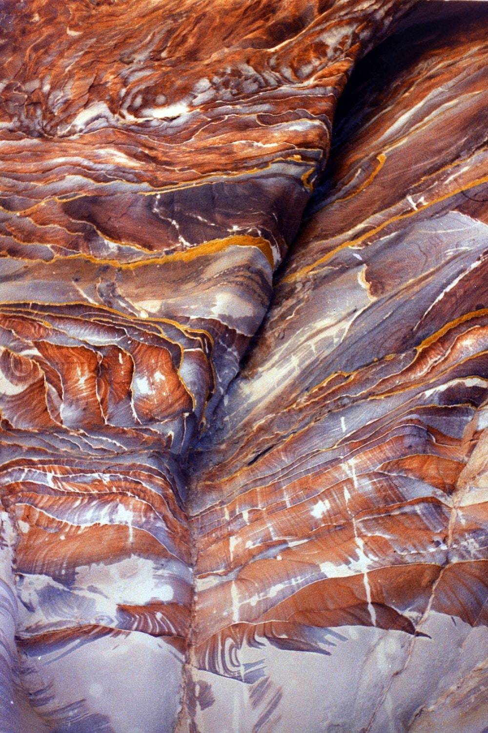 brown and white rock formation