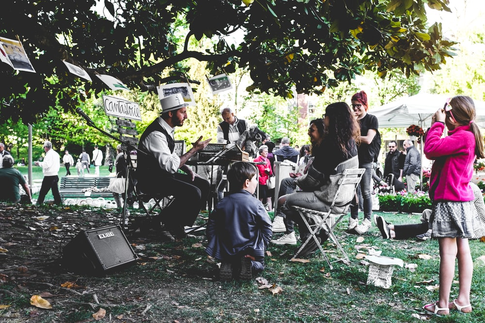 people sitting on chairs under tree during daytime