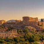View of Acropolis of Athens with Parthenon and Erechtheion from Filopappou hill. Herodium, Lycabettus and Acropolis of Athens view from Filopappou hill a summer sunny day