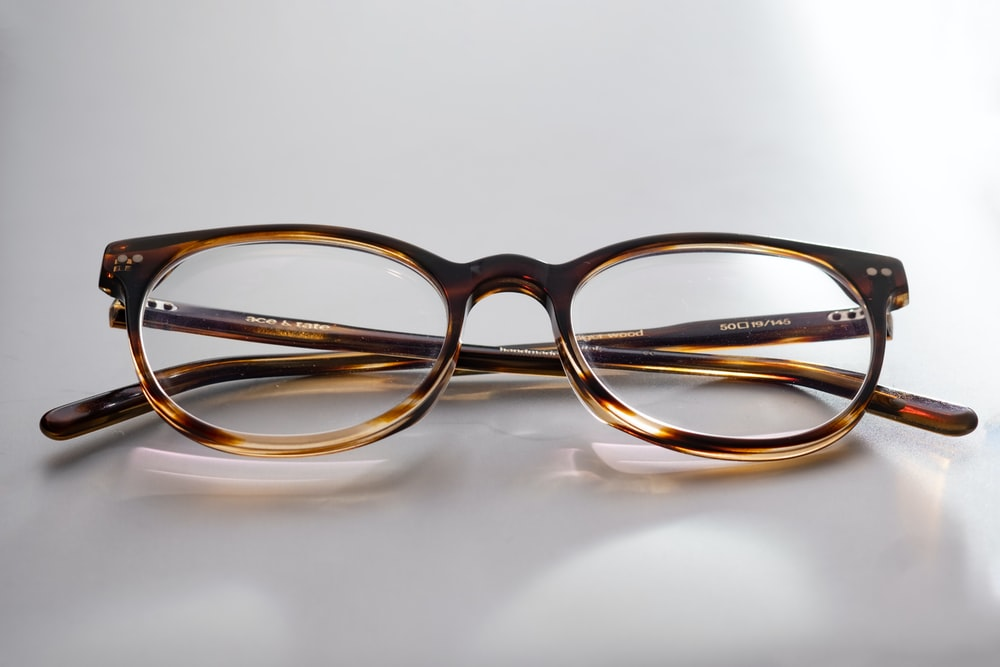 brown and black framed eyeglasses