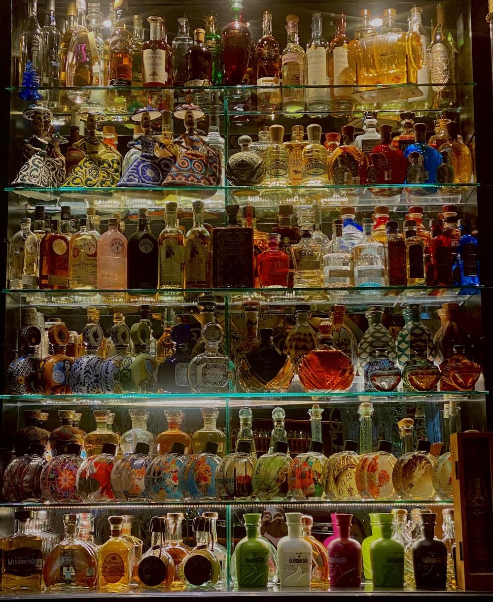 clear glass jars on shelf