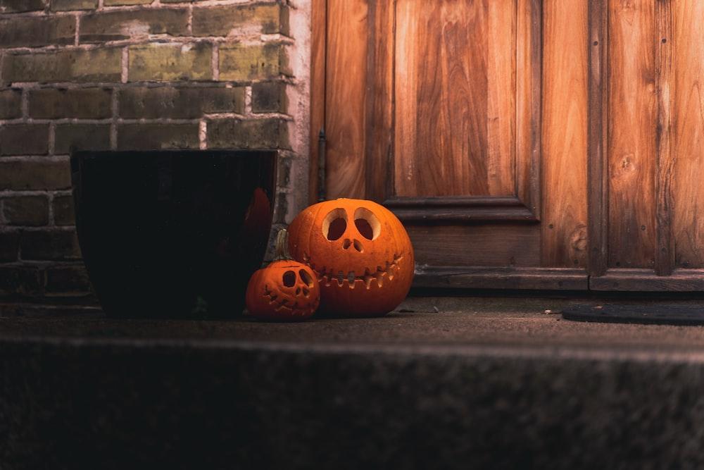 jack o lantern on black floor