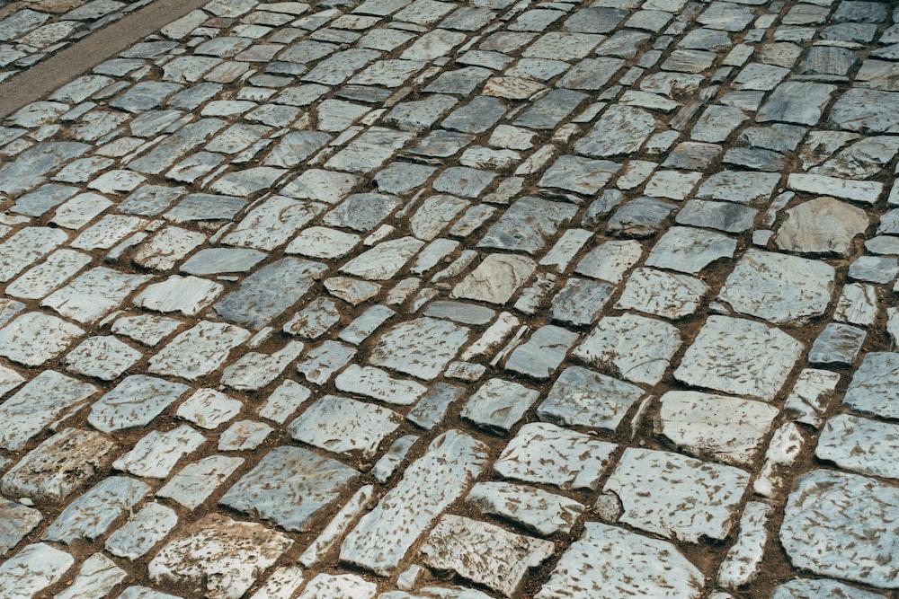 gray and brown brick floor