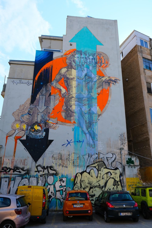 blue and yellow wall graffiti