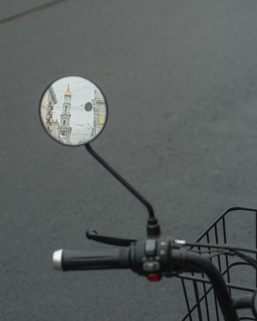 black and white bicycle with white round sticker