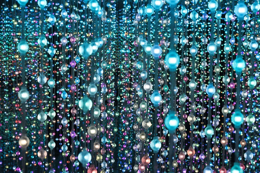 blue and pink string lights