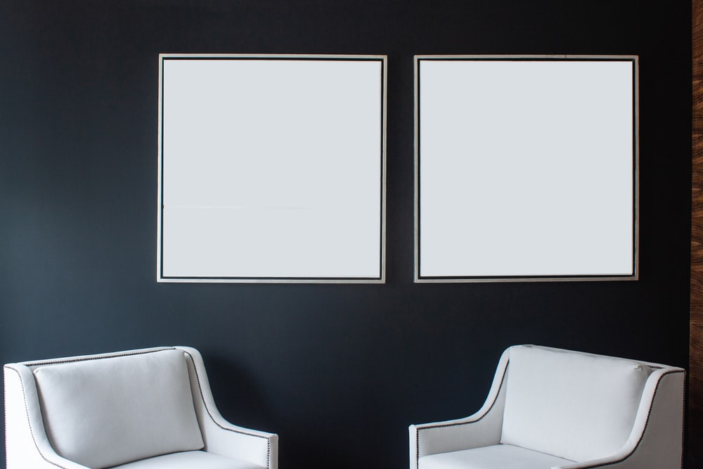 black and white wall mounted frame