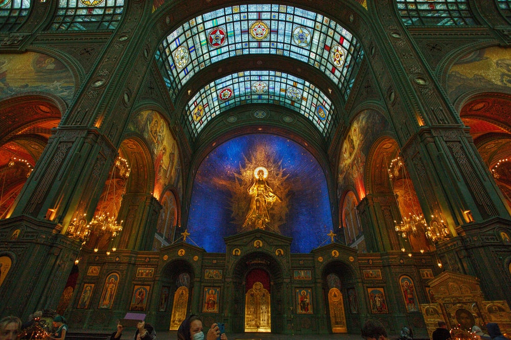 blue and brown cathedral interior