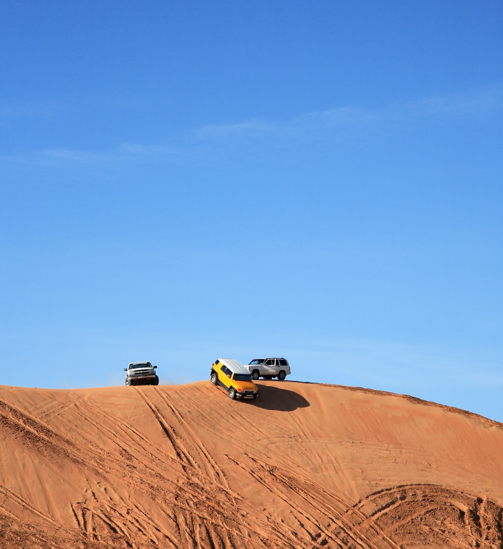yellow and black car on desert