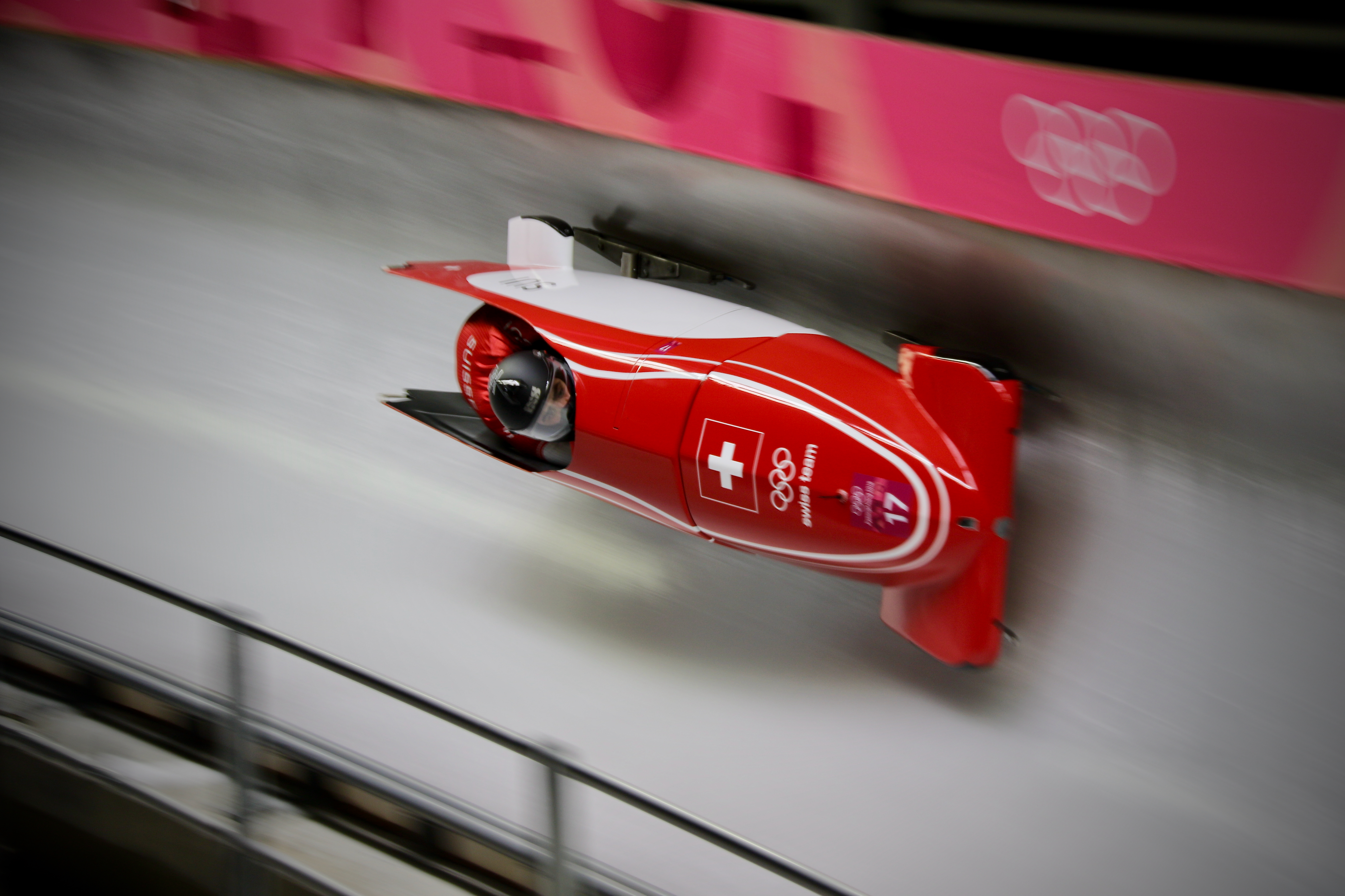 Swiss team racing in the two-man bobsleigh event at PyongChang Winter Olympics