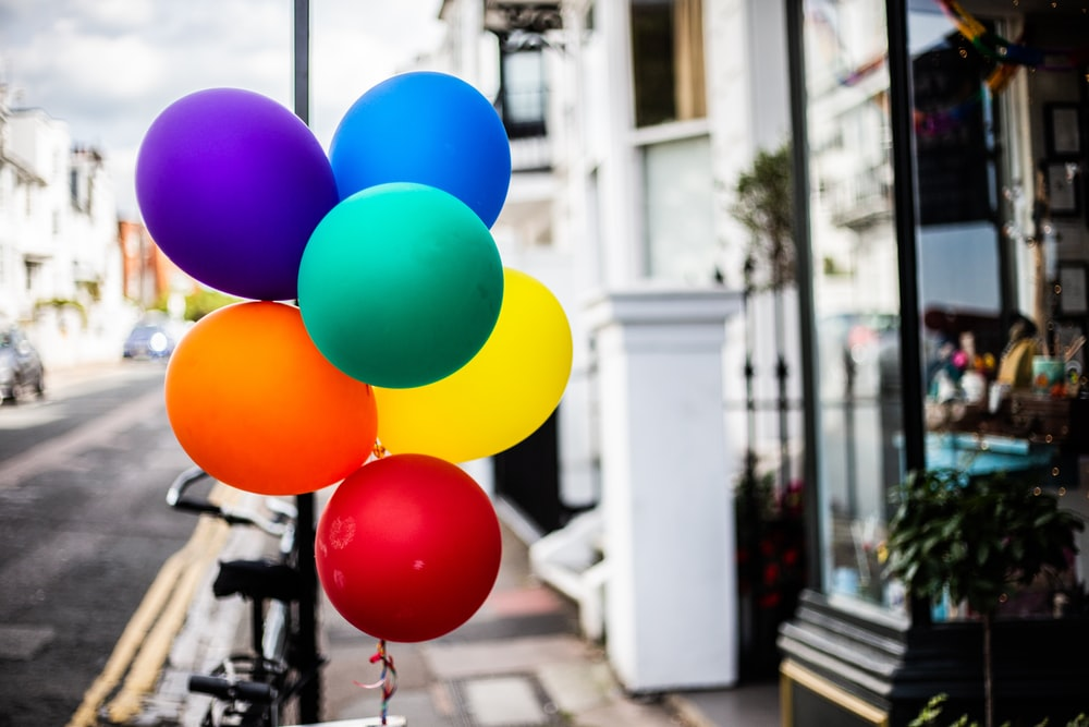 blue yellow red and pink balloons