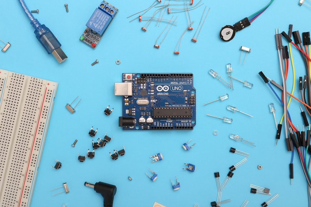 blue and black circuit board