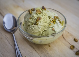 ice cream in clear glass bowl