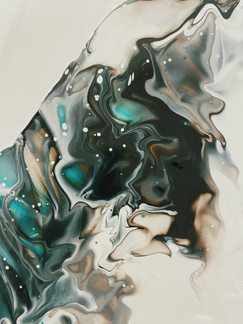 black white and blue abstract painting