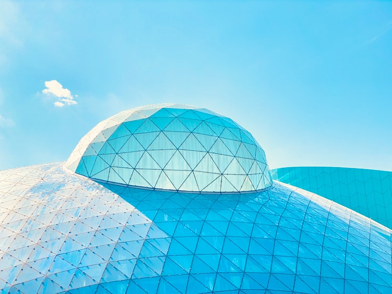blue and white dome building