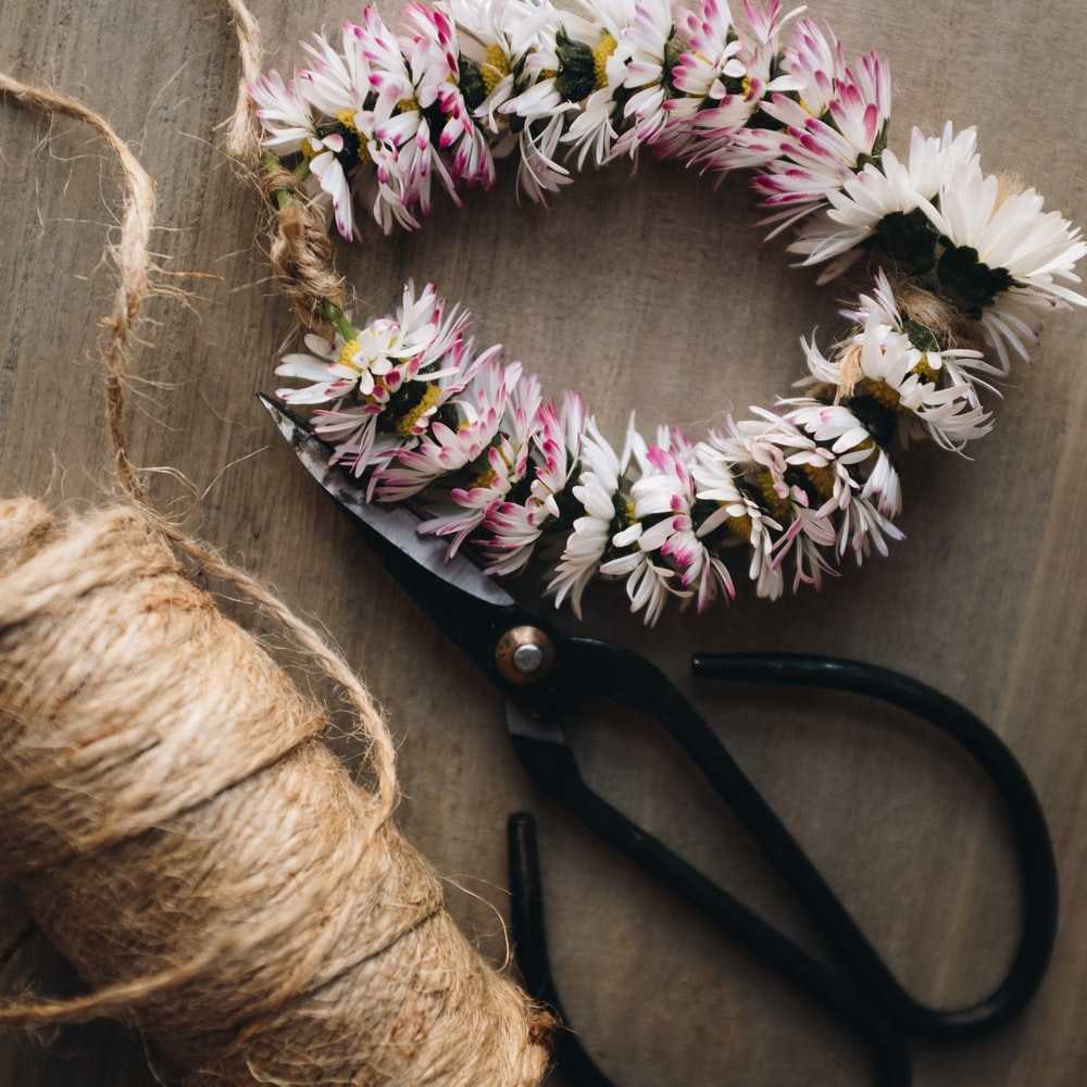black and brown floral wreath