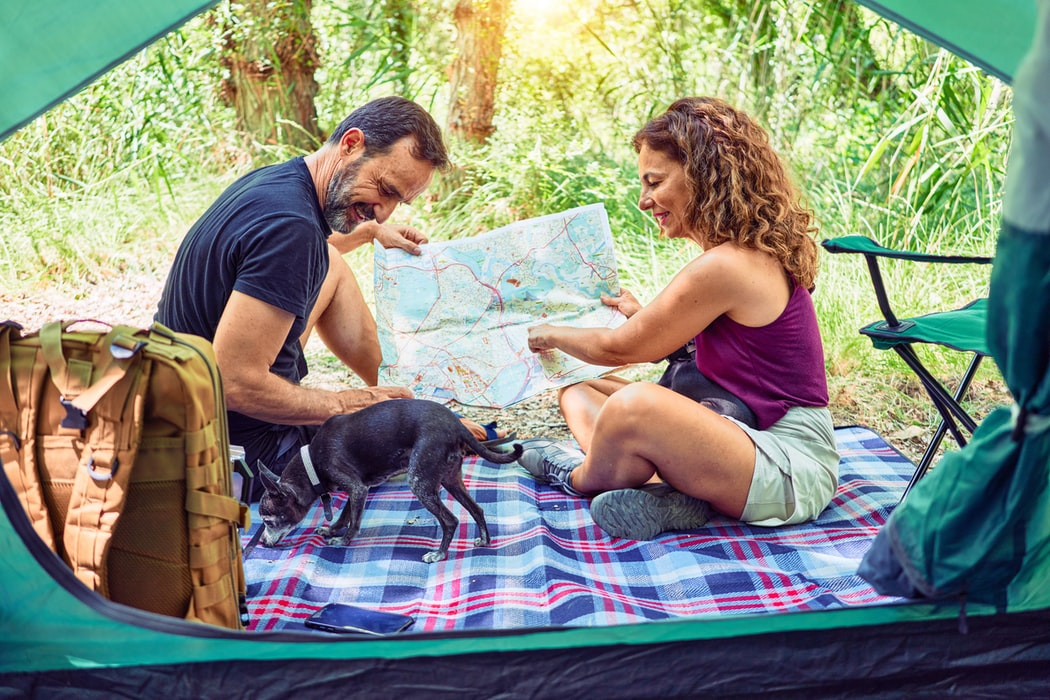 camping with blanket