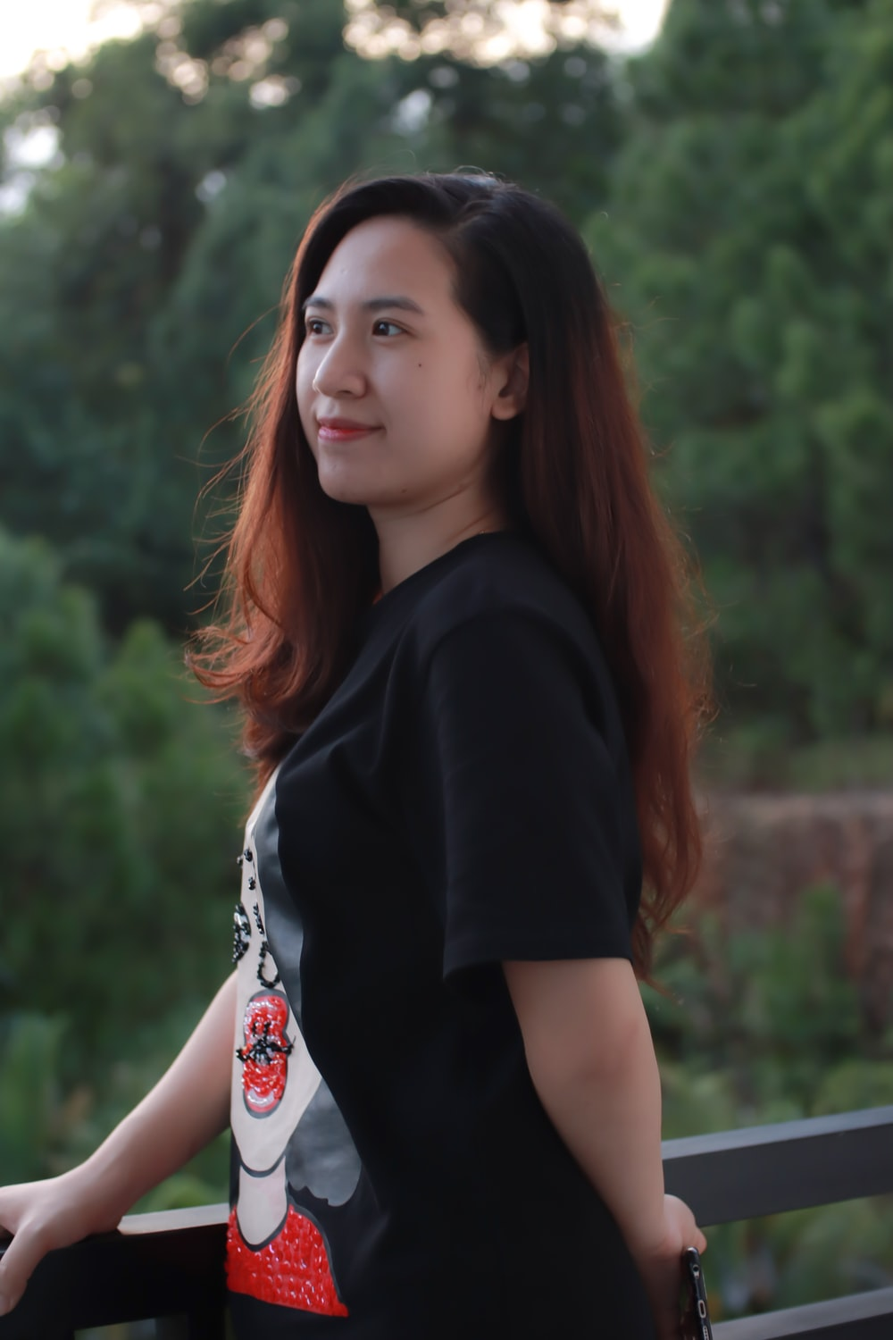 woman in black and white t-shirt