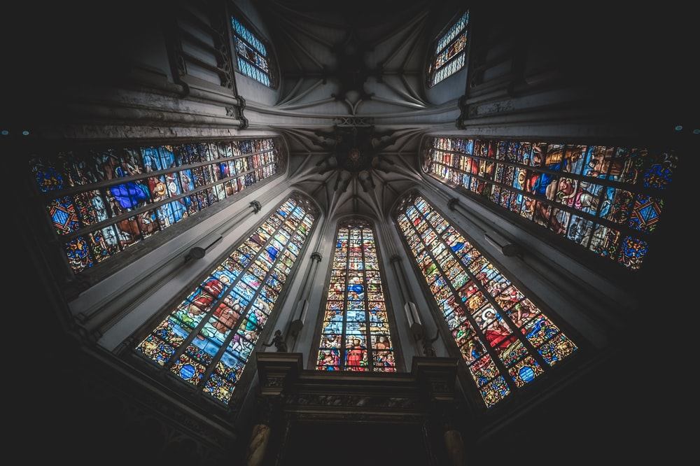 blue red and white stained glass
