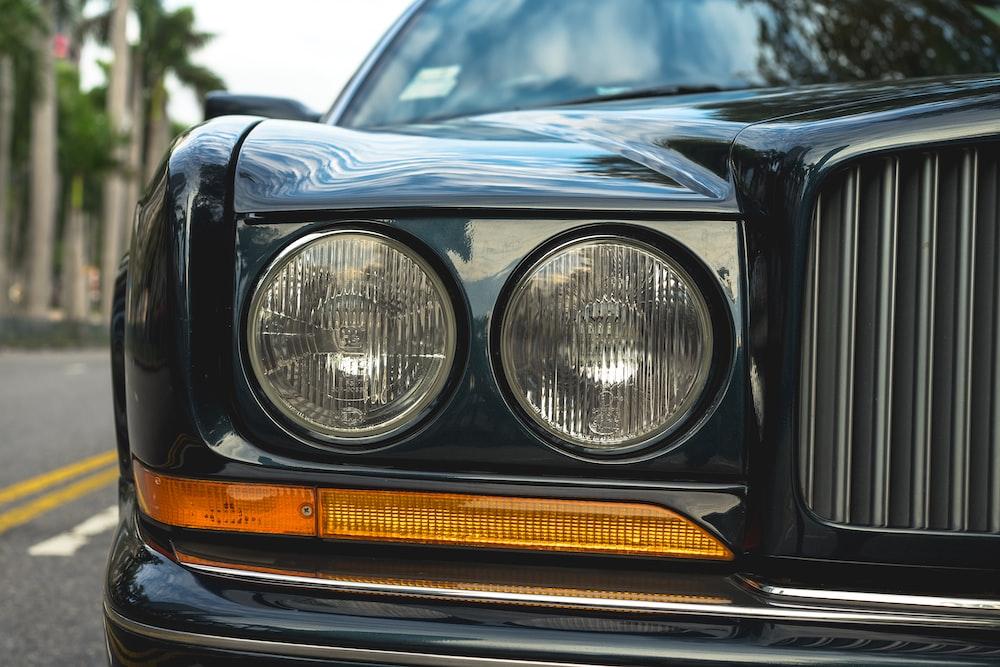 black and yellow car headlight