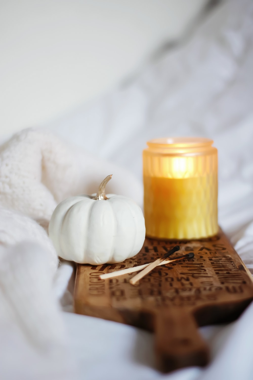 white pumpkin beside white garlic