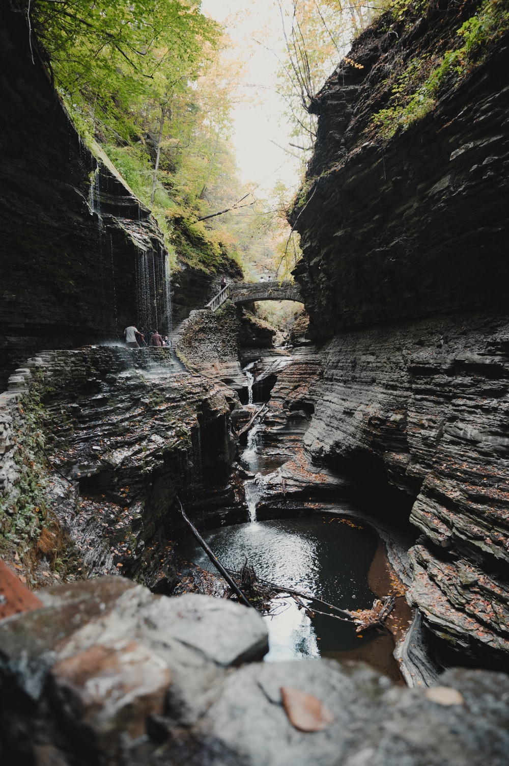 water falls between brown and green rock formation during daytime