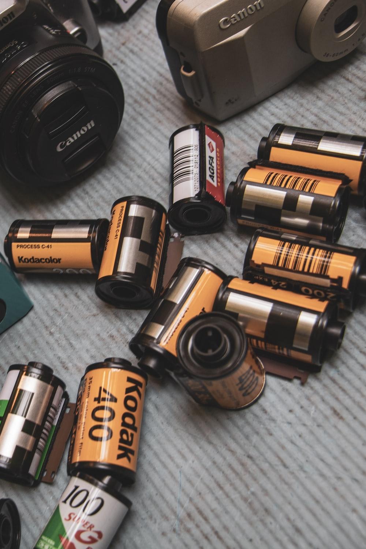 black and brown camera lens