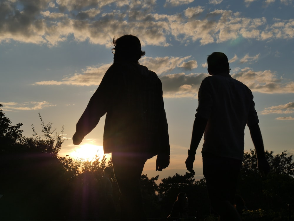 silhouette of couple standing on grass field during sunset
