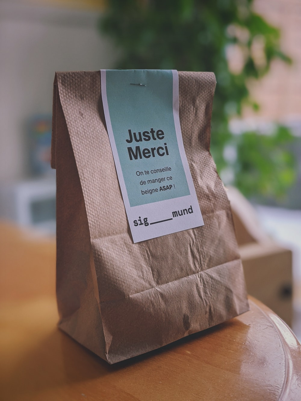 brown and white paper bag