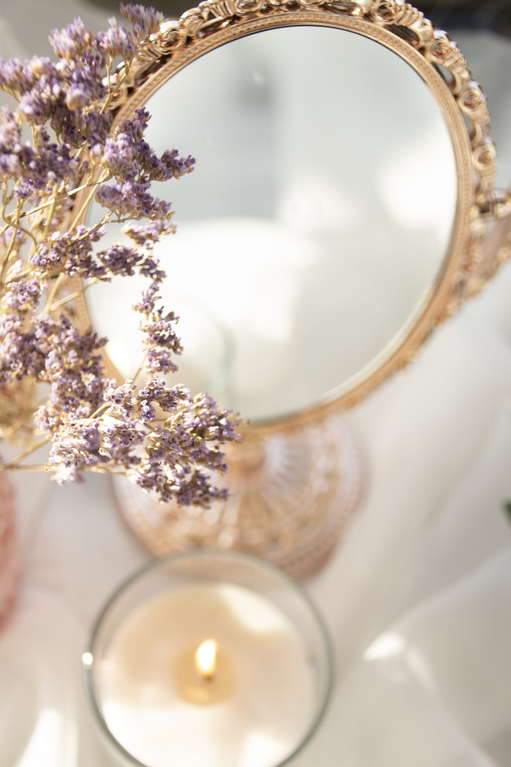 gold and white floral wreath