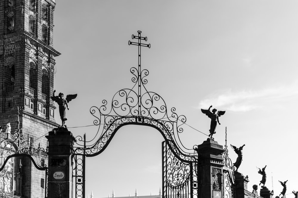 black metal gate in grayscale photography