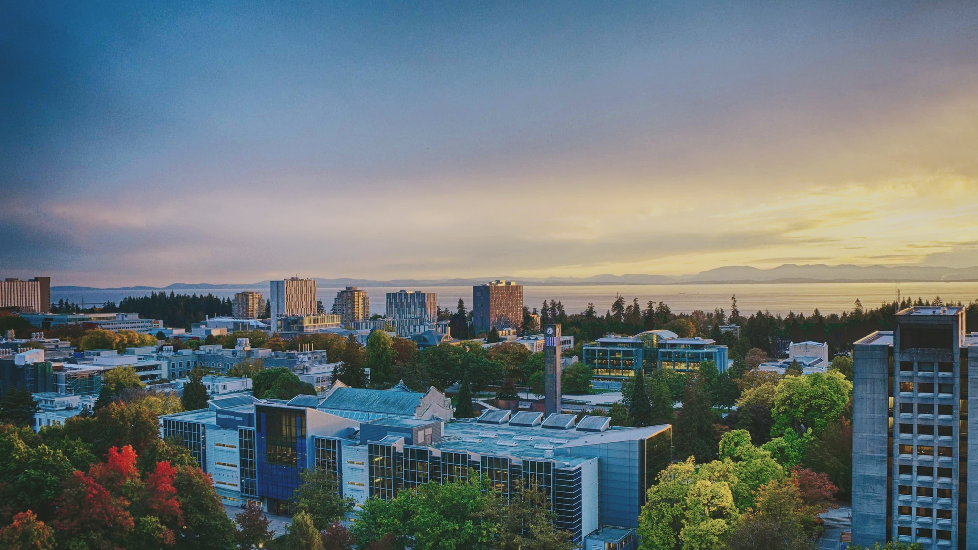 UBC campus, looking towards the Strait of Georgia