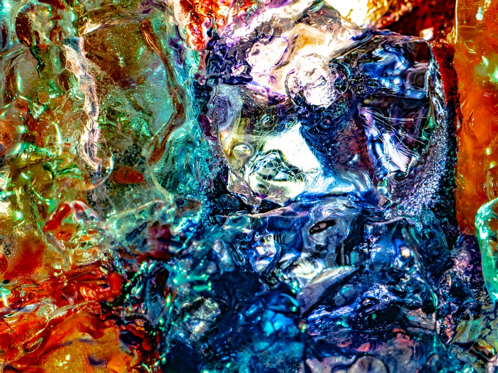 blue orange and red abstract painting
