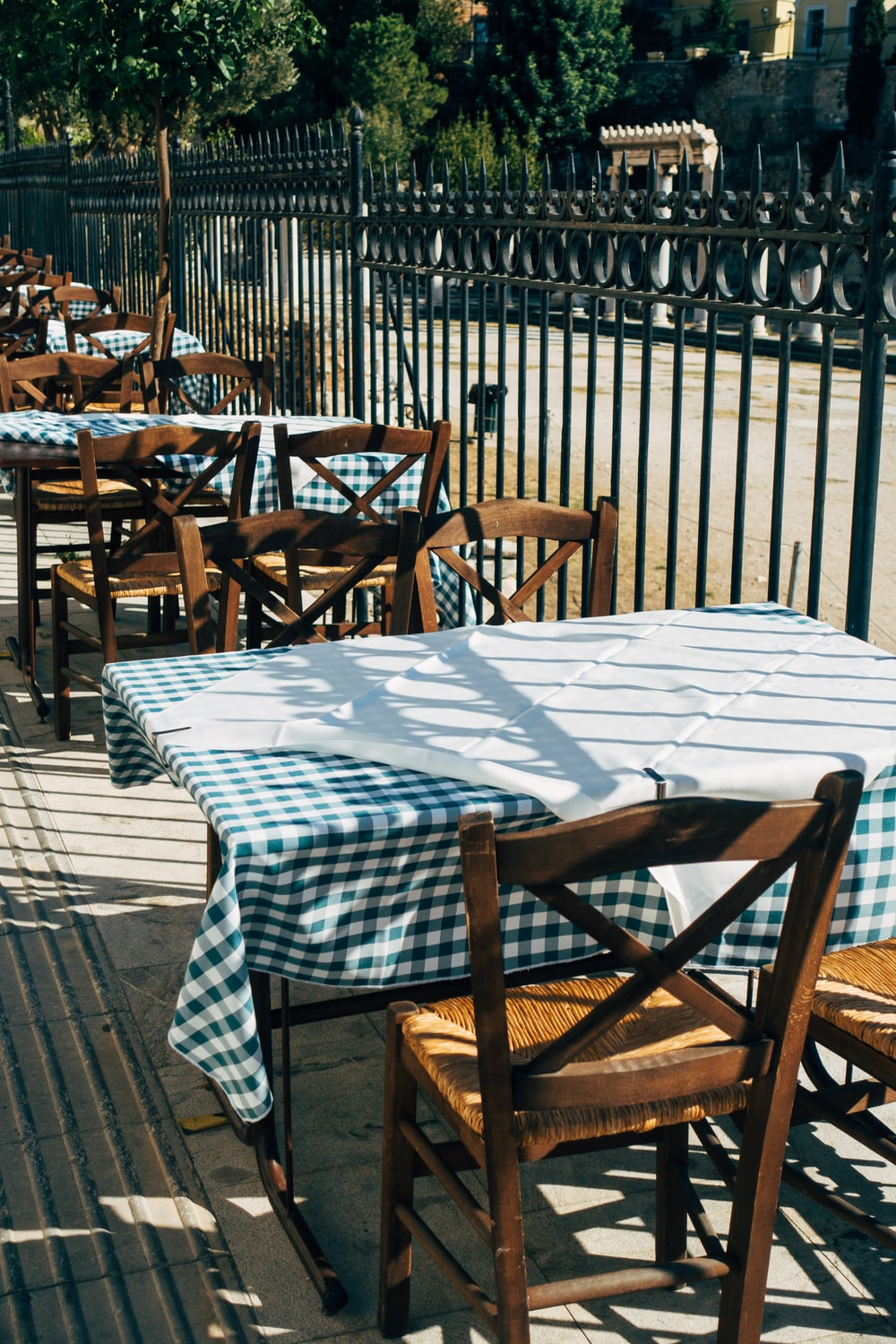 brown wooden chairs and table