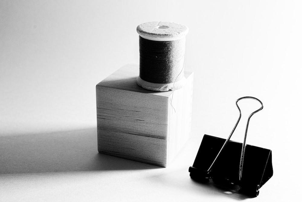 black smartphone on white box