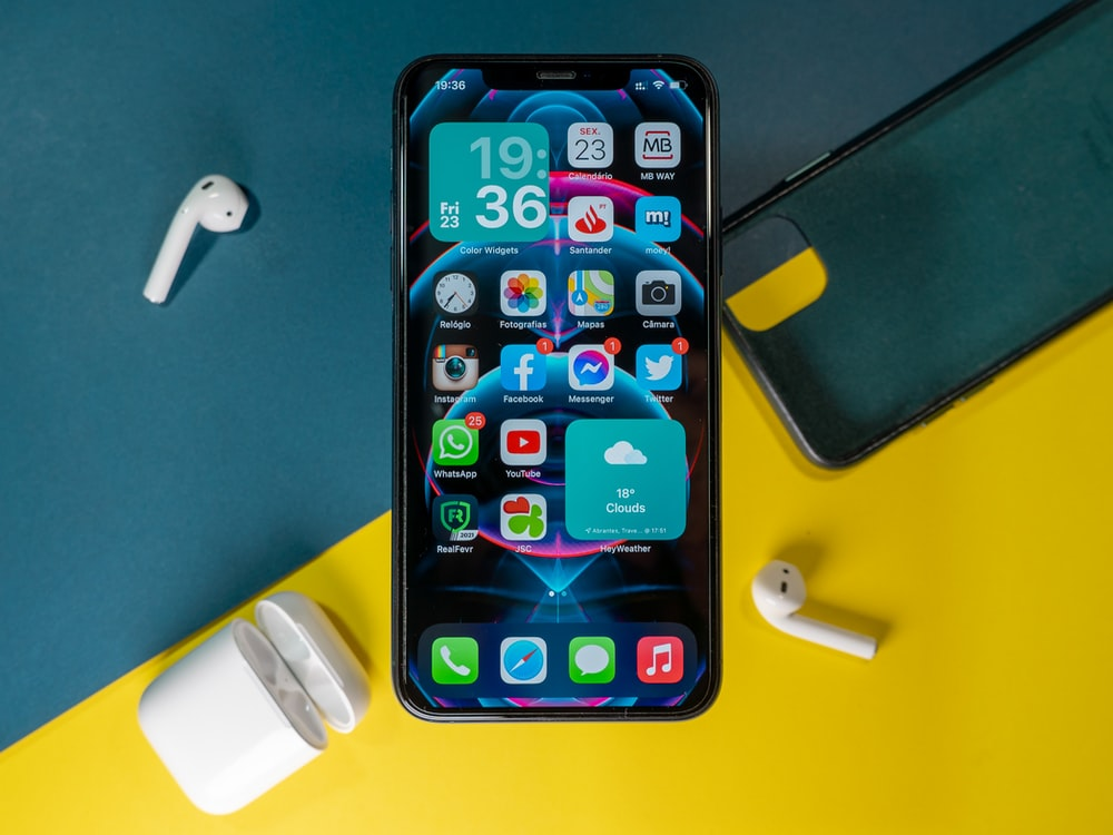 iphone 6 on blue table
