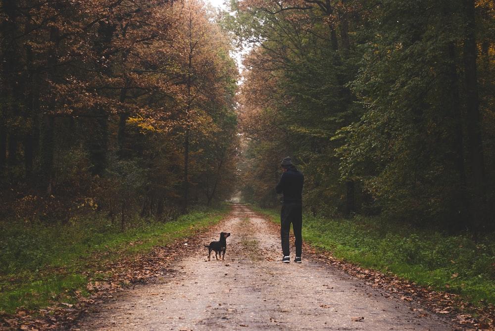 man in black jacket walking on pathway between green trees during daytime