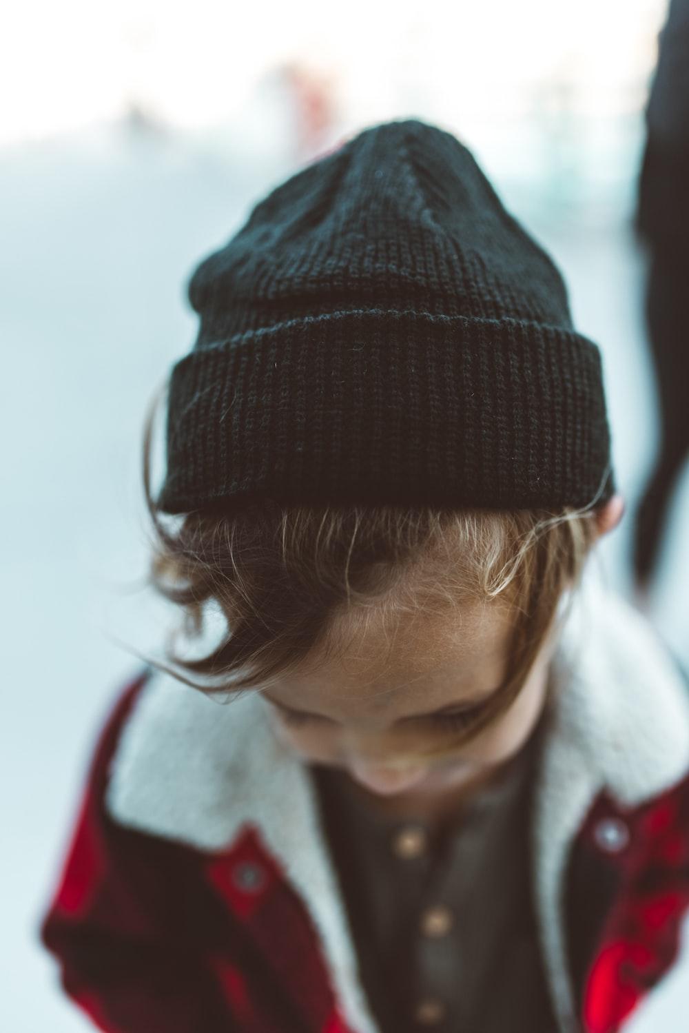 girl in black knit cap