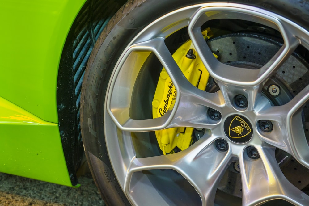 yellow and silver car wheel