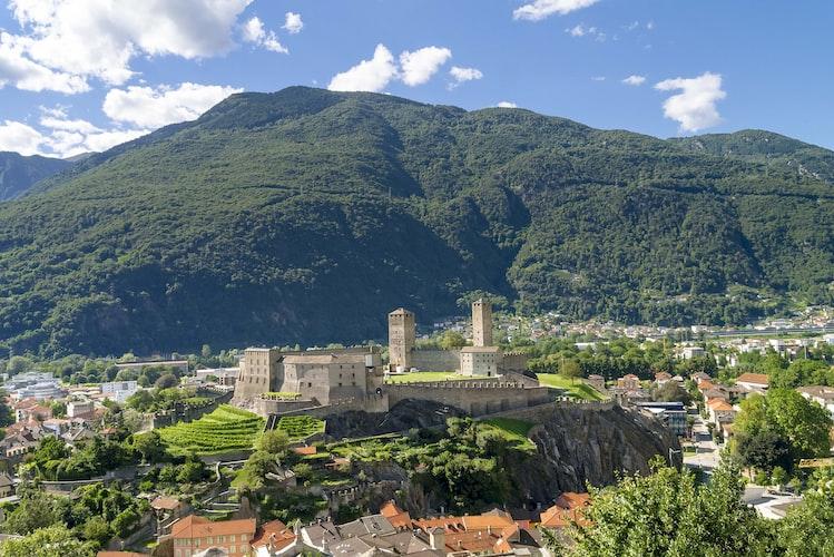 Panorama del castello di Bellinzona, Canton Ticino, Svizzera