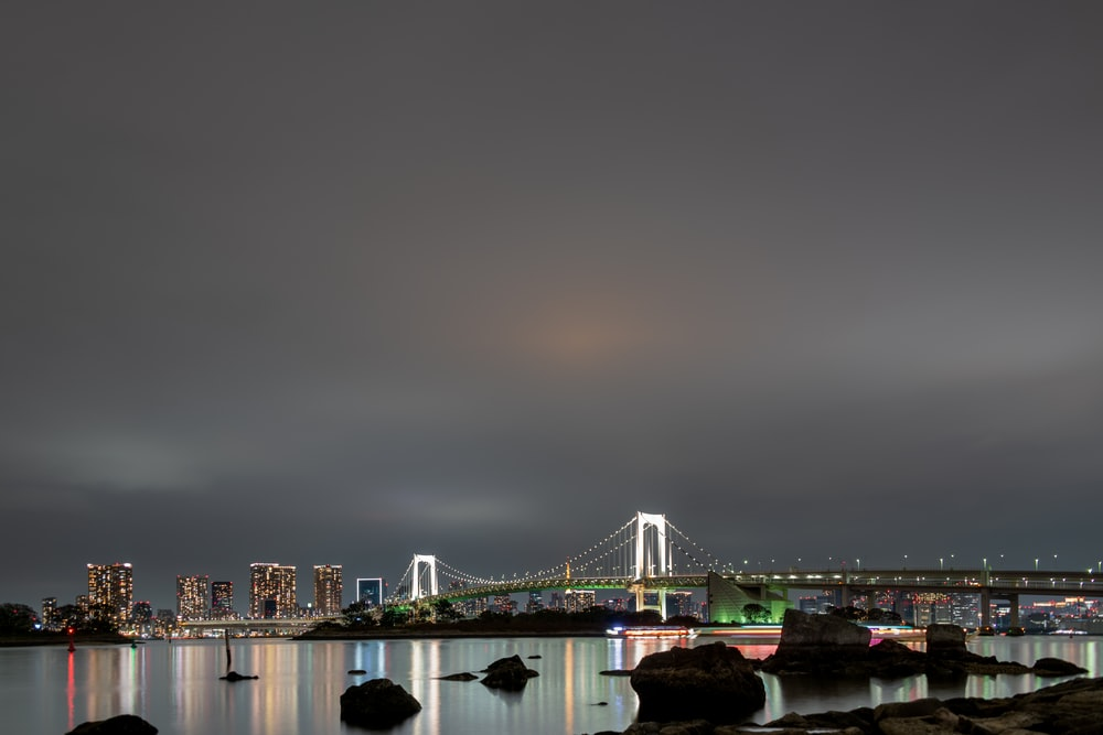bridge over body of water during night time
