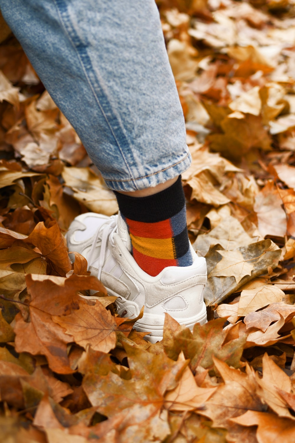person in blue denim jeans and white nike sneakers standing on dried leaves