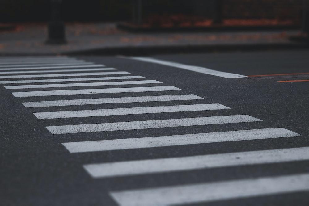 black and white stripe road