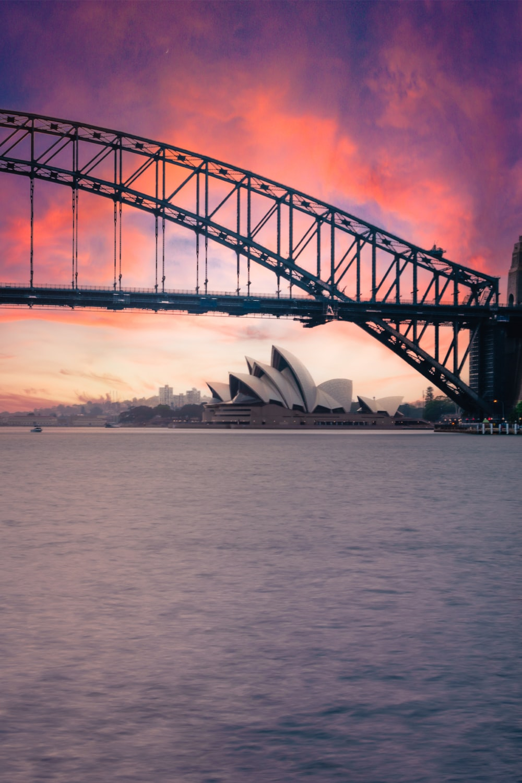 red bridge over the sea