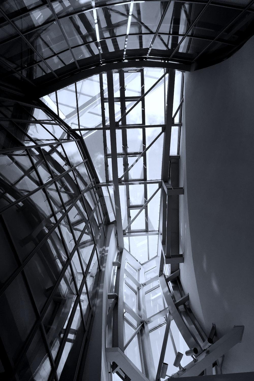 white metal framed glass ceiling