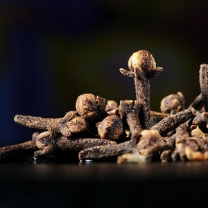 Close up shot of dried clove buds