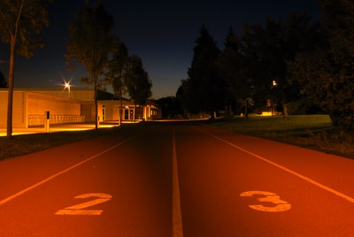 Running track at night