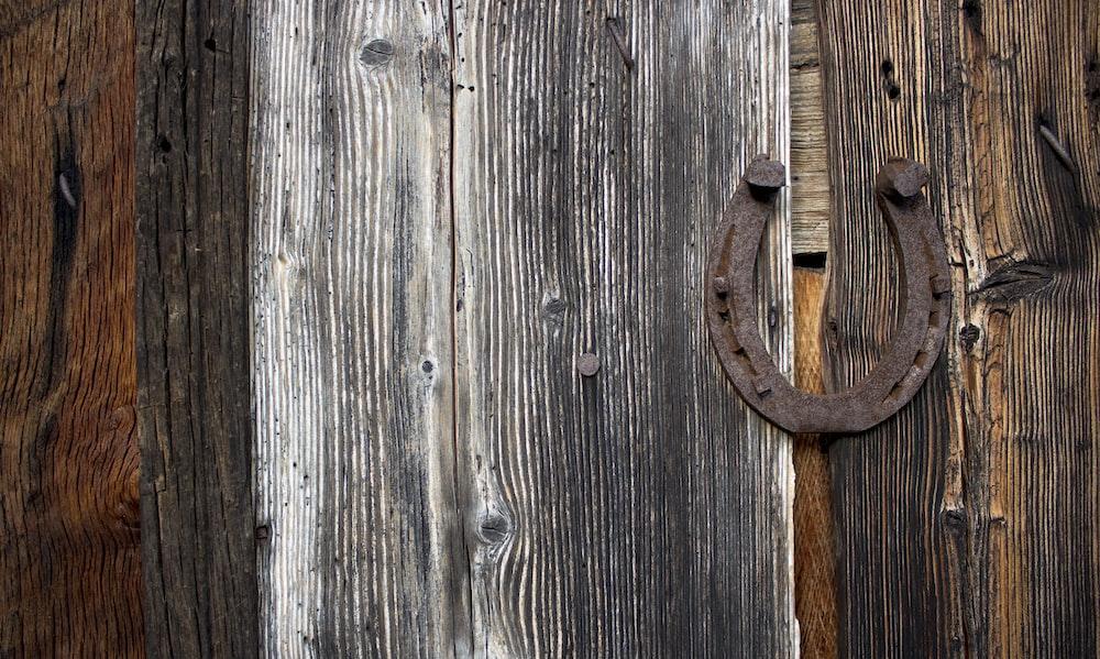 brown wooden door with brown handle