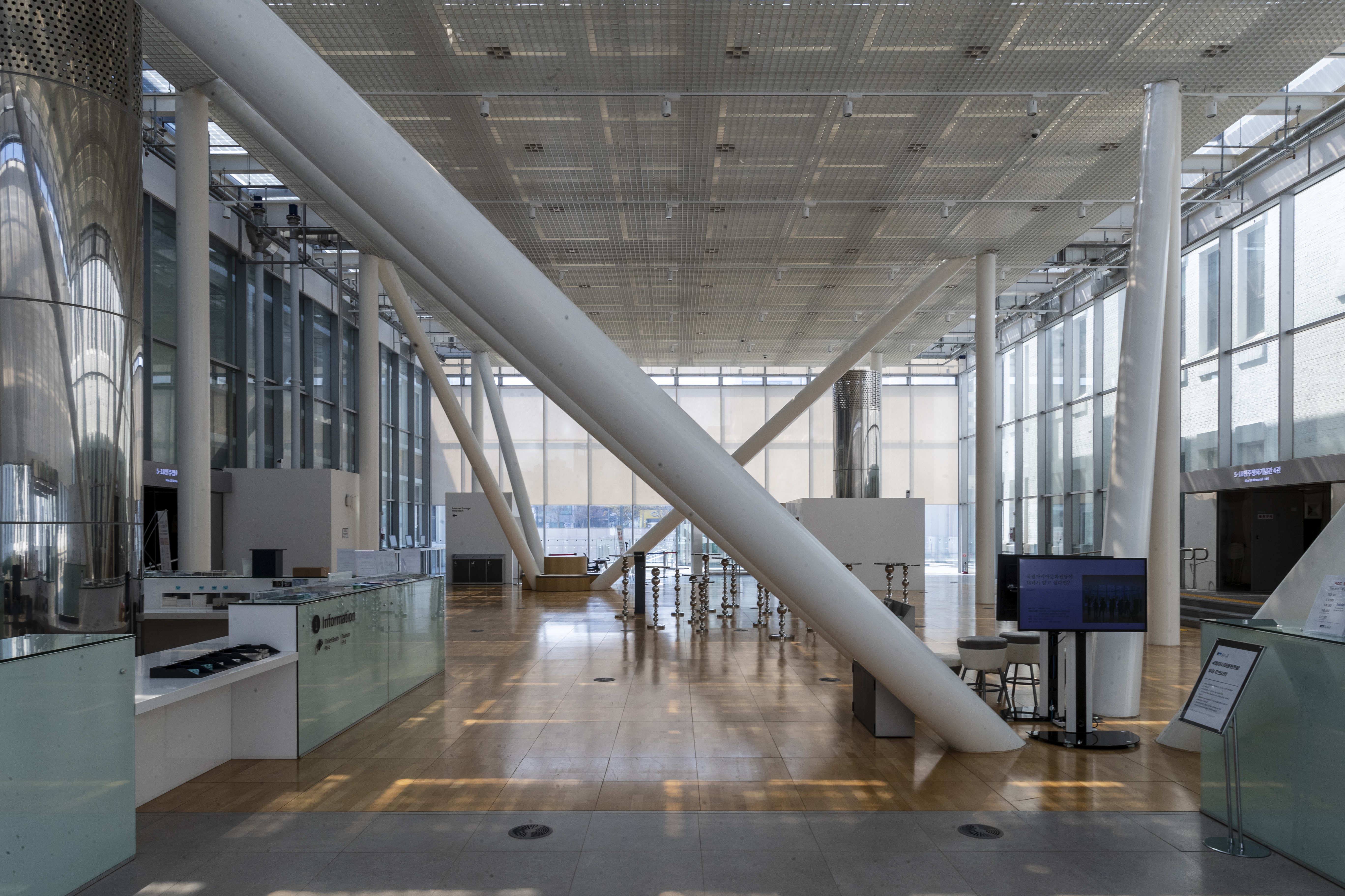 The unique interior structure at the Visitor Center of the Asia Culture Center and the public artwork