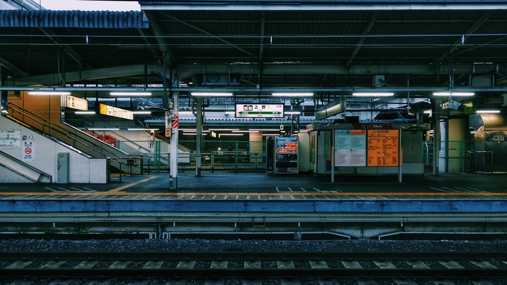 green and yellow train station